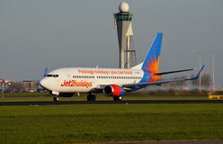 Jet2 Boeing 737 departs Schiphol Royalty Free Stock Image