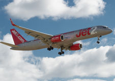 Jet 2 Boeing 757. Landing at Newcastle Airport royalty free stock photography