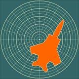 Jet Bomber outline model on radar display Royalty Free Stock Image