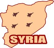 Jet Bomber shadows on syria map vector illustration