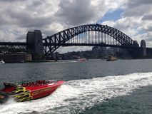 Jet-Bootfahrt auf Sydney Harbour Lizenzfreies Stockfoto