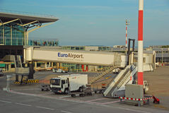 Free Jet Bridge At International Airpot EuroAirport Basel Mulhouse Freiburg Serving Germany, France, Switzerland Located At Saint-Louis Stock Image - 32851011