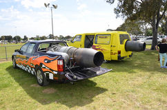 Jet cars. Two jet cars at the Royal Geelong Show. Victoria, Australia. They have Rolls Royce jet motors in them, were driven around the main oval with huge Royalty Free Stock Image