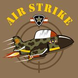 A jet cartoon on military air show with military logo. Fighter jet cartoon. Vector cartoon illustration, no mesh, vector on eps 10 Royalty Free Stock Photography