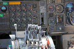 Jet Cockpit. Cockpit of a Boeing 747 airliner Stock Image