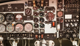 Jet Cockpit Instrument Display. The display of a retro American jet fighter cockpit instrument display Stock Images
