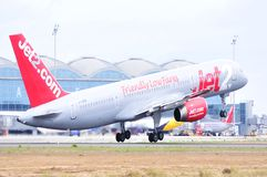 Jet2com airlines power turbine start elevation maniobre in airport of alicante Stock Photos
