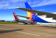 Jet2.com and Jet2.com holidays airplanes on the tarmac at leeds Bradford airport. Jet2 aircraft on Runway at leeds Bradford airport Royalty Free Stock Photo