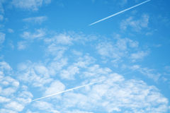 Jet contrail Royalty Free Stock Photo