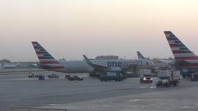 Jet d'American airlines dans le début de la matinée banque de vidéos