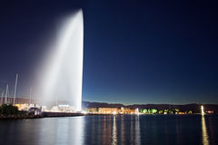Jet d'Eau. The Jet D'Eau source in lake Leman, Geneve, Switzerland Royalty Free Stock Photography