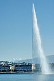 Jet d'Eau. In Geneva Switzerland from the lake Geneva corniche Royalty Free Stock Images