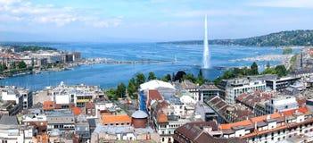 Jet d'eau de Genève et de De Photos libres de droits