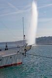 The Jet d'Eau fountain in Geneva Royalty Free Stock Photo