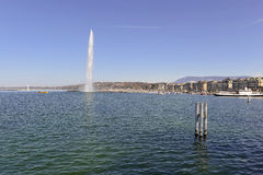 Jet d'eau Fountain in Geneva Switzerland Royalty Free Stock Photo