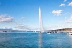 Famous jet d`eau of geneva fountain lake leman royalty free stock image