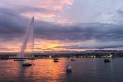 Jet d'Eau in Geneva in Switzerland Stock Images