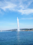Jet d'eau , on Lake Geneva in Geneva Switzerland. The Jet d'Eau (Water-Jet) is a large fountain in Geneva, Switzerland, and is one of the city's most famous Stock Image