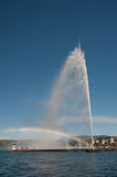 Jet d'eau with rainbow, Geneva, Switzerland Royalty Free Stock Photo