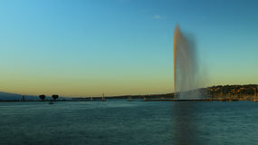 Jet D'eau and the Rive gauche waterfront Geneva, Switzerland Royalty Free Stock Photo