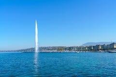The Jet d`Eau or Water jet fountain, Geneva city landmark,  Swit. The Jet d`Eau or Water jet fountain, where Lake Geneva empties into Rhone, city landmark Stock Photography