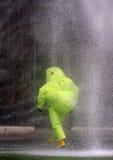 Jet de l'eau vers la personne avec le costume pendant un evacuat Image stock