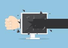 Jet de main d'homme d'affaires un poinçon par l'écran de moniteur Images stock