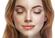 Jet de portrait de demi visage bronzage de femme beau Photos libres de droits