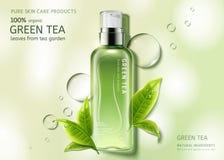 Jet de soins de la peau de thé vert illustration libre de droits