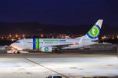 Jet de Transavia prêt pour le départ Photo stock