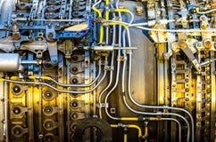 Jet engine. Disassembled aircraft jet engine close-up royalty free stock image