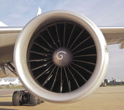 Jet Engine. Airplane and jet engine close up Royalty Free Stock Photo