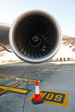 Jet engine. Wide-angle closeup view of an engine of large passenger aircraft royalty free stock photo