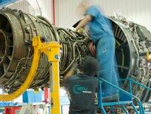Jet engine. Repair in factory workshop in Zhuhai MTU China Stock Image