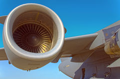 Jet Engine. On a massive C-17 cargo plane Royalty Free Stock Images