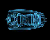 Jet engine. (3D x-ray blue transparent isolated on black Stock Photography