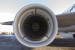 Jet engine. Detail of jet on new Airbus Royalty Free Stock Image