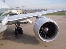 Jet engine at aircraft. Boing 777 parked at international Rome Airport of Leonardo da Vinci royalty free stock photo