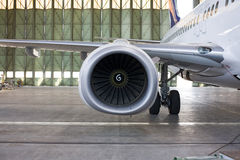 Jet engine at aircraft. In the hangar Royalty Free Stock Images