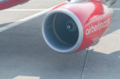 Jet engine of an aircraft of Air Berlin. Stock Photo