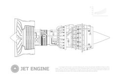Jet engine of aircraft. Part of the airplane. Side view. Aerospase industrial drawing. Outline image. Vector illustration Royalty Free Stock Images