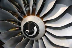 Jet engine blades. Close-up of jet engine turbine blades stock image
