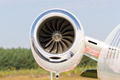 Jet engine close up. Close-up of a turbofan jet engine in modern airplane Royalty Free Stock Images