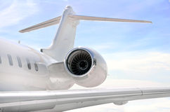 Jet engine closeup on a private airplane - Bombardier. Jet Engine closeup on a modern private jet airplane - Bombardier Global Express stock image