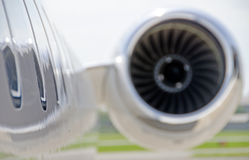 Jet engine closeup on a private airplane - Bombardier. Jet Engine closeup on a modern private jet airplane - Bombardier Global Express Stock Images