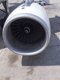 Jet engine. Commercial airplane's Jet engine at parking stand Stock Image