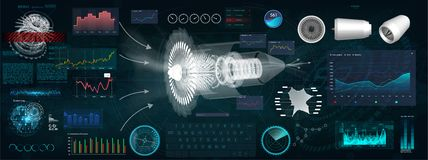 Jet Engine 3D isométrica del aeroplano en el estilo de HUD libre illustration
