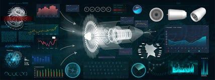 Jet Engine 3D isometrisch vom Flugzeug in HUD-Art lizenzfreie abbildung