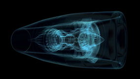 Jet engine 3D x-ray blue transparent isolated on. Black background Camera fly around aircraft X-ray jet engine stock footage