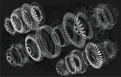 Jet Engine 3D som är isometrisk av flygplanet stock illustrationer